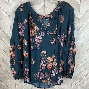 Blue pepper long sleeve teal floral blouse